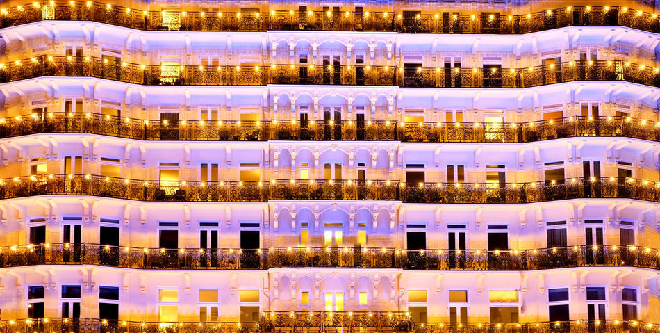 Backgrounds Full Frame Illuminated No People Large Group Of Objects Pattern Indoors  Side By Side Reflection In A Row Glass - Material Gold Colored Abundance Arrangement Transparent Luxury Architecture Choice Repetition Apartment Brighton Grand Hotel Brighton Uk England Regency Architecture