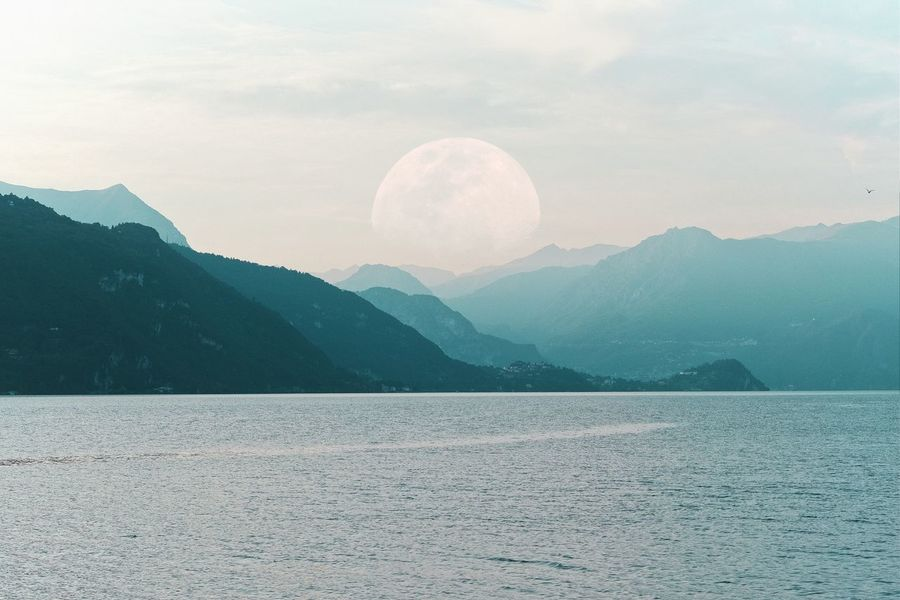 moon rise Calm Serenity Moon Moonrise Landscape Mountain Snow Cold Temperature Salt - Mineral Lake Winter Desert Water Backgrounds Textured  Foggy