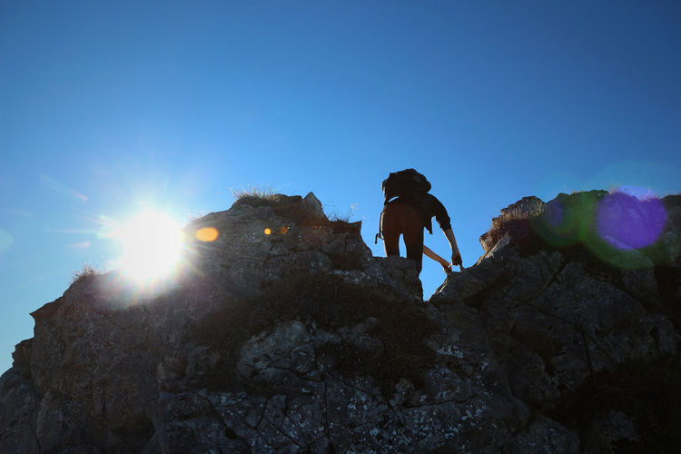 In the mountains Adventure Against The Light Against The Sun Alpen Alps Blue Climbing Day Hiking Landscape Lens Flare Lifestyles Mountain Nature Outdoors Rock Rock Rock Formation Scenics Sky Sun Sun Flare Sunflare Sunlight Tourism