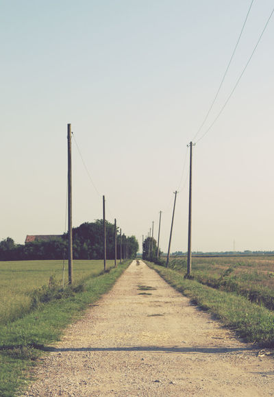 country road and telegraph poles Back Road  Cable Clear Sky Country Countryside Diminishing Perspective Electrical Poles Field Grass Gravel Road Landscape No People Outdoors Perspective Poles Road Rural Rural Scene Sky Telegraph Pole Telephone Line The Way Forward Tranquil Scene