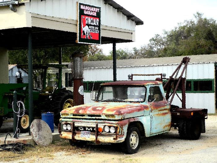 Abandoned Old Chevy Truck Old Tow Truck Old Truck At Service Station Old Wrecker