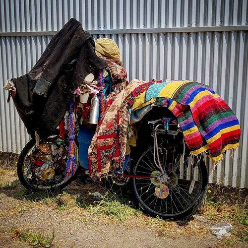 One Person Multi Colored Outdoors Day Real People Baby Stroller People Nomadic Nomadic Life Hippie Hippielife Bike Bicycle Bicycle Heaven Bicycle Adventures