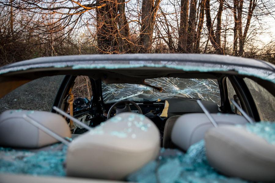 Abandoned Abandoned & Derelict Broken Down Broken Down Car Broken Glass Broken Window Broken Windshield Car Cracked Destroyed Trees Vandalism Vandalized