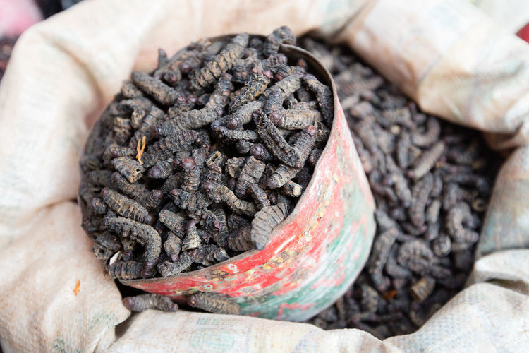 High Angle View Of Dried Silkworms In Container And Sack