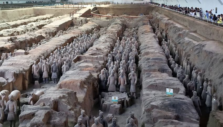 Abundance Ancient Ancient Army Chinese Day Diminishing Perspective History Nature Outdoors Rock - Object Sky Terra-cotta The Way Forward Tomb Tourism Travel Destinations Warrior