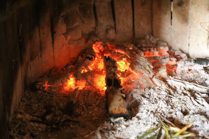 Burning Close-up Firewood Flame Heat - Temperature Indoors  Night No People