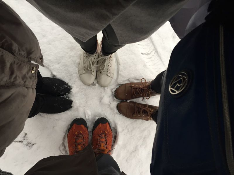 Winter streetstyle Winter Shoe High Angle View Standing Streetphotography Togetherness White Snow Cold Temperature Boots N Jeans Gal💝 Lifestyles Winter Fashion Fashion Team