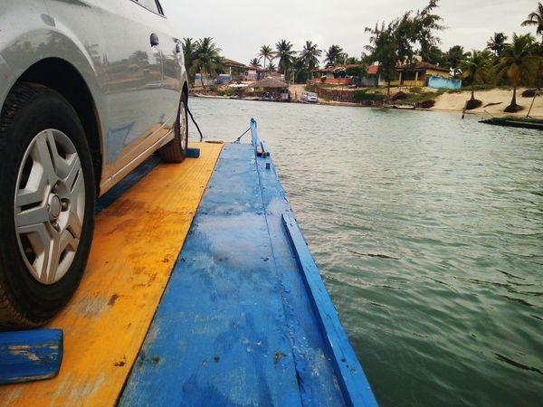 Crossing Sibaúma. Road trip Transport Commute Crossing River Car Vehicle Summer Road Trip Boat Shore Canoe Water Vehicle Nautical Vessel