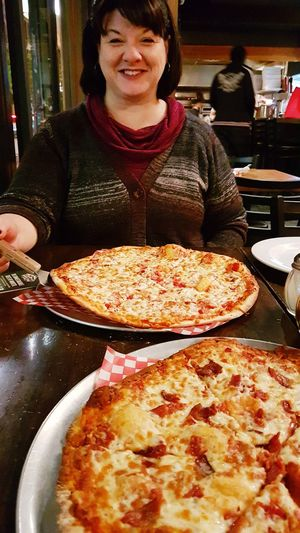 Pizza Pizza Time Pizzalover Pizzas Food And Drink Food Wife Dinner Smiling Happy Beautiful Woman Huge Smile Ready-to-eat Unhealthy Eating Indoors  Food Photography