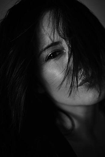 Saturday mood Potrait Blackandwhite Woman Brunette Long Hair Close-up Beautiful Hair Skin Eyes Flirting Fujifilm FUJIFILM X-T1