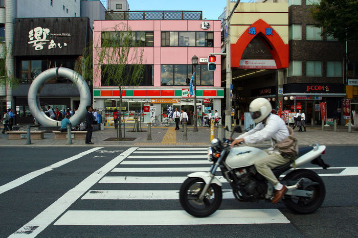 Japan Sakai City Japan Sakai Japan Architecture Building Exterior City Mode Of Transportation Motorcycle Motorcycle Rider Sakai Street Transportation