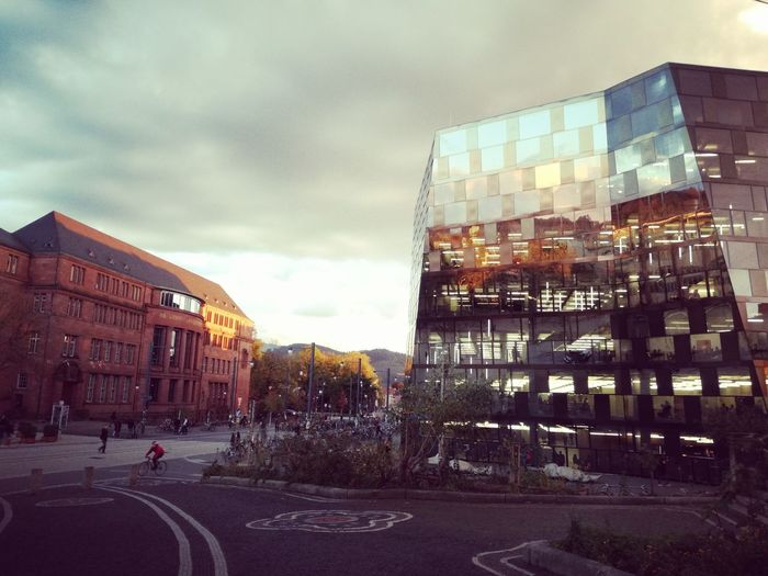 Architecture Building Exterior Sky City Built Structure Cloud - Sky Outdoors Day People Reflections Reclection Mirror Mirror Reflection Modern Modernarchitecture Modern Architecture Library University Freiburg Evening Autumn