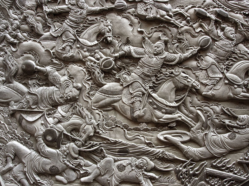 Backgrounds Close-up Day Full Frame Granite Carvings Of Warriors At War No People Outdoors Religion Sculpture Spirituality Statue Temple Wall