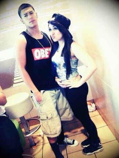 My old BFF roger and me at McDonald's after six flags <3 we want to be models when were older (;