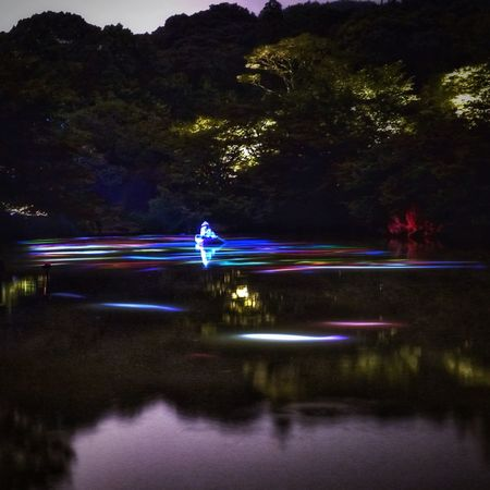 Nightphotography Projection Mapping Drawing Mifuneyama Rakuen pond Illusion Water Reflections July 27 Takeo City. Saga Prefecture Kyushu region Japan Photography Beautiful View