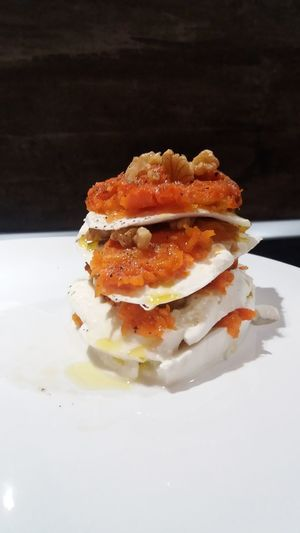 Food Stories Mozzarella Pumpkin Nut Orange Color Millefoglie Food And Drink Meat Close-up Freshness