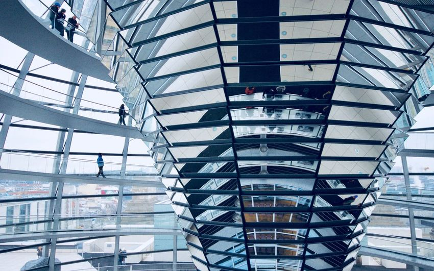 Berlin Bundestag Spiral Staircase Futuristic People Day Built Structure Modern Railing Staircase Indoors  Architecture