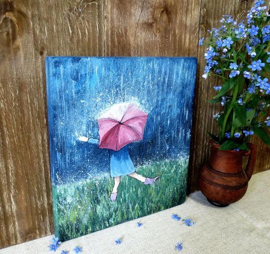 Country Life кантристайл прованс Panno Countryside Provence Wood Picture Flower Water Summer Protection Blue Close-up