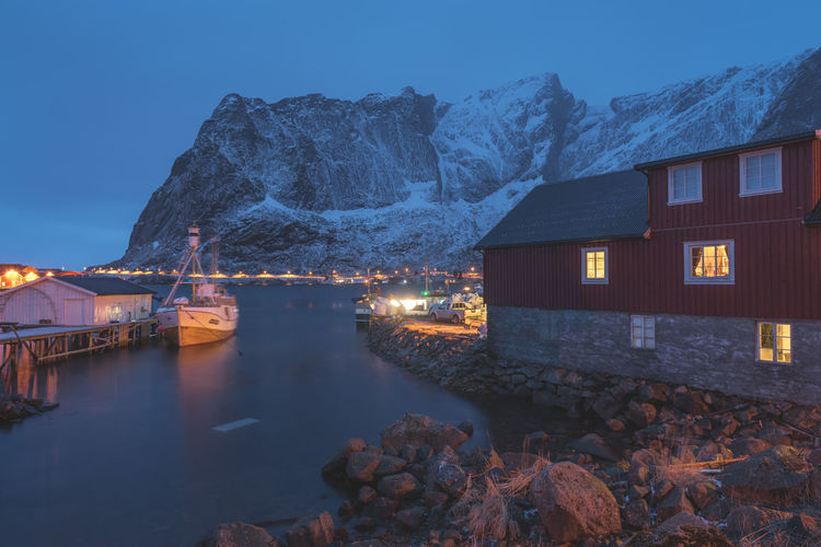 Blue hour at Reine EyeEm Best Shots EyeEm Nature Lover EyeEm Selects EyeEm Gallery EyeEmNewHere Landscape_Collection Nikon Norway Travel Travel Photography Traveling Travelling Beauty In Nature Building Exterior Built Structure Illuminated Landscape Landscape_photography Mountain No People Outdoors Snow Travel Destinations Water Winter The Great Outdoors - 2018 EyeEm Awards