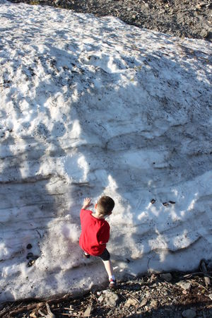 Day First Time To Play In Snow Full Length Leisure Activity Nature One Person Outdoors People Real People Red Snow Bank Standing