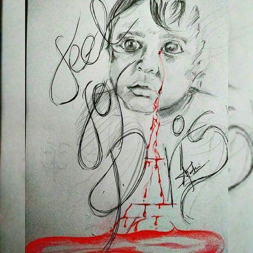 Prayforparis Paris Eiffeltower Feelforparis ❤ Sketch Child Tears Innocence ArtWork Emotion Selfmade
