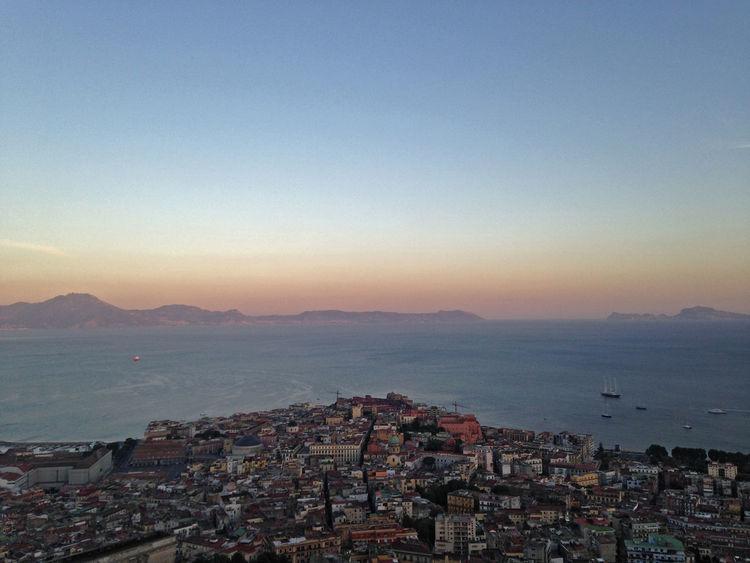 Golfo Di Napoli Mediterranean  Naples Napoli City Sunset Golfo Italy Landscape Sea Sunset