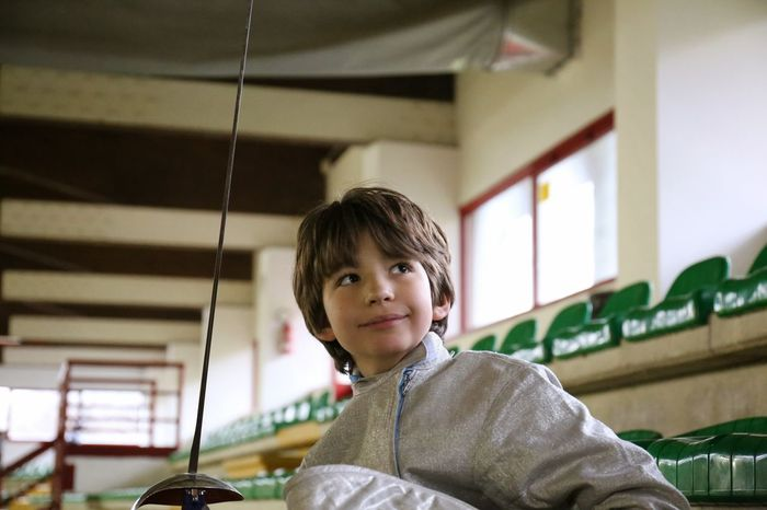 Athlete Boy Boys Challenge Child Childhood Children Only Competition Fencing Indoors  Males  One Boy Only One Person People Portrait Ready To Go Real People Saber Smiling Sport Sports Sports Photography Stadium Sword Young