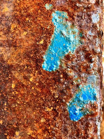 Full frame shot of Rusty texture on metal surface Full Frame Pattern Backgrounds No People Blue Close-up Day Multi Colored Creativity Wet Abstract Natural Pattern Beauty In Nature Textured  Nature High Angle View Outdoors Water Art And Craft