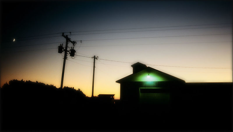 Green light house Blue Hour Countryside Electric Grid Greenlight Moon No People Sky Sunset