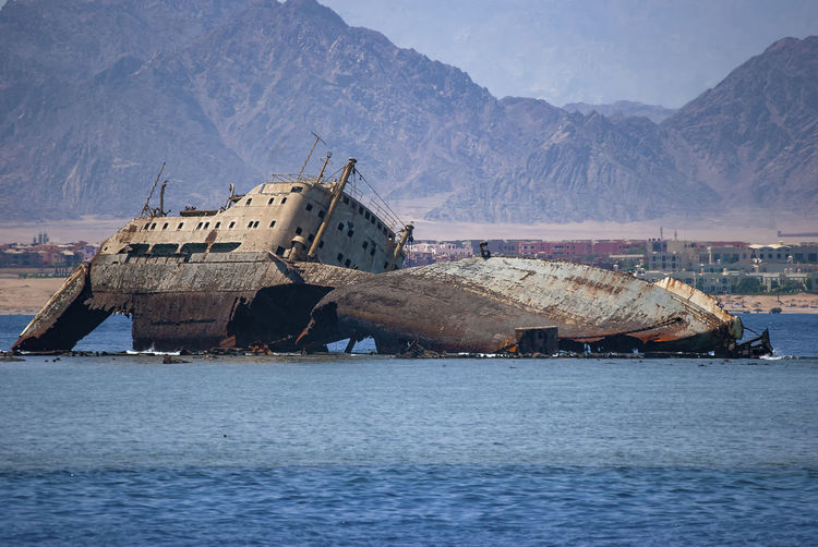 The remains of the loullia on the northern edge of gordon reef in the straits of tiran near sharm