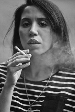 Smokin, 2018 Portrait Of A Woman Retro Smoke Smoking Summertime Adult Adults Only Bad Habit Beautiful Woman Black And White Close-up Day Holding Human Hand Indie Indoors  Lifestyles One Person People Real People Smoking - Activity Smoking Issues Summer Young Adult Young Women