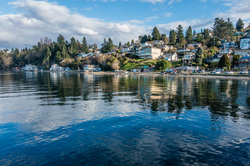 Waterfront homes in Dash Point, Washington. Architecture Pacific Northwest  Buildings Dash Point Homes Landscape Reflections Sea Water Waterfront