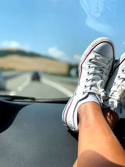Travelling! Puglia Travelling Photography Human Leg Low Section Human Body Part Body Part Shoe Real People Leisure Activity Personal Perspective One Person Day Transportation Car Mode Of Transportation Motor Vehicle Women Adult Human Limb Land Vehicle Limb Lifestyles