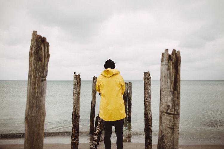 Lost In The Landscape Yellow Jacket Fisherman Fishing Horizon Over Water Nature Sea Seaman Lost In The Landscape Fresh On Market 2017