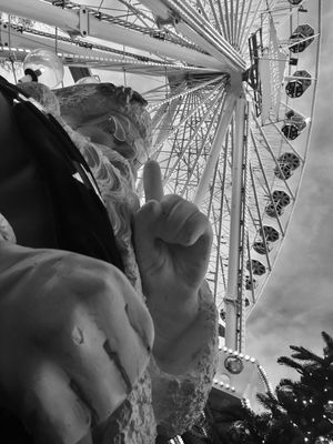 Amusement Park Leisure Activity Lifestyles Real People One Person Low Angle View Day Amusement Park Ride Women Human Hand Men Ferris Wheel Outdoors Sky Human Body Part Close-up Magisch Maastricht Vrijthof Square Vrijthof Maastricht,NL Blackandwhitephotography Black And White Christmas 2016