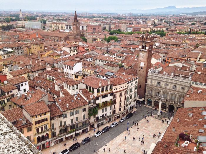 127/365 May 7 2017 One Year Project Verona Italy Verona Piazza Erbe Piazza Delle Erbe Veneto Torre Dei Lamberti View Tower Town Square Italy Architecture Building Exterior Built Structure Cityscape High Angle View History Day Outdoors Travel Destinations City No People Sky
