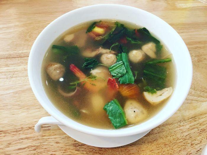 ต้มยำ ต้มยำกุ้ง Soup Bowl Healthy Eating Food Ready-to-eat Food And Drink Table Freshness Soup Bowl Vegetable Soup No People Close-up Indoors  Day