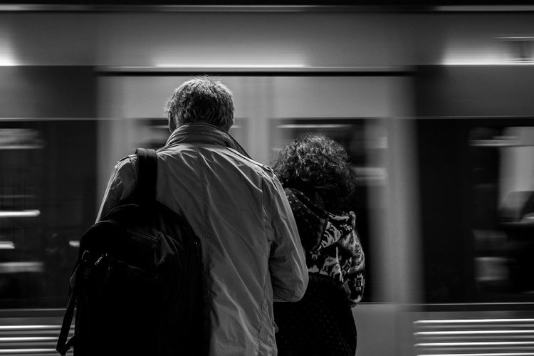 Streetphotography Rear View Indoors  Subway Metro Onthemove Black And White Sony A6000 Sony FE 35mm F2.8