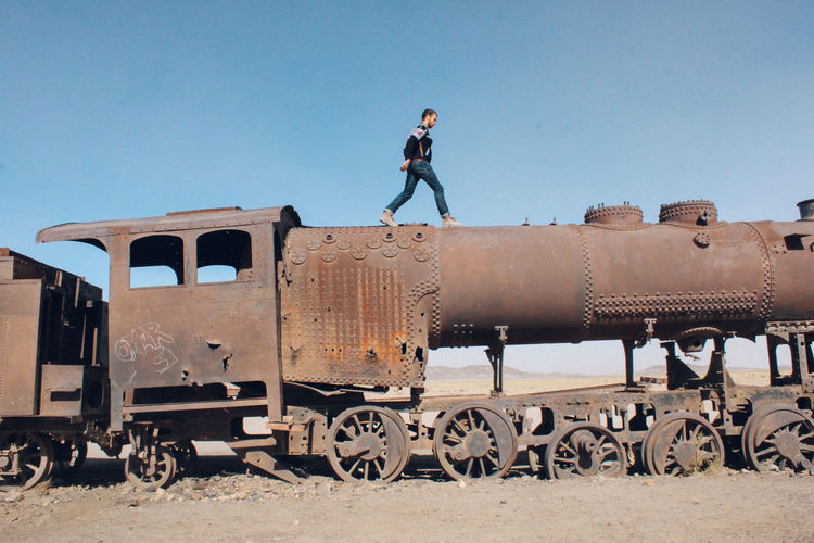 Survivor. Live For The Story BYOPaper! Clear Sky Desert Landscape Nature Outdoors Train Abandoned Places