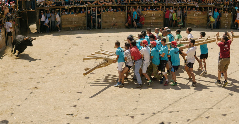 High Angle View Of People Bullfighting On Field