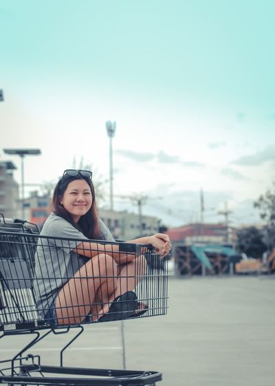 Shopping Cart Portrait Consumerism Real People Lifestyles Looking At Camera Smiling Young Women Beautiful Woman Happiness