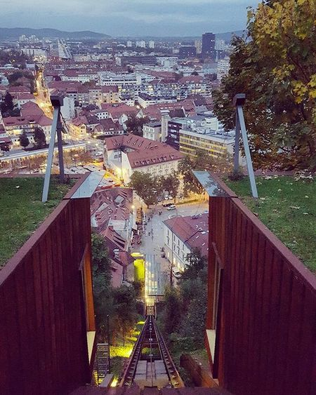 Throwback Ljubljana right after the sun said its goodbye Tram Trail Wysh Track City Citylife Slovenia Ljubljana Photography Path Slowenien Igers Igersslovenia Igersljubljana Lights Europe Eu Throwback