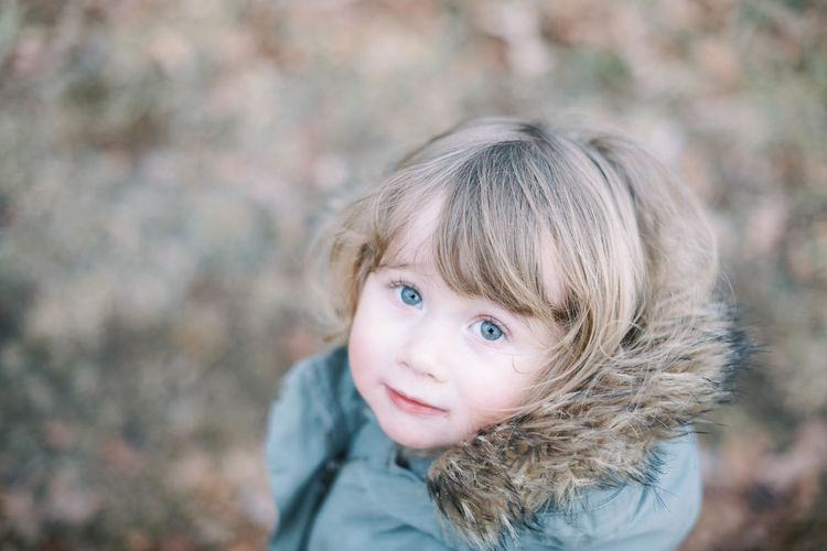 Portrait of cute baby girl outdoors