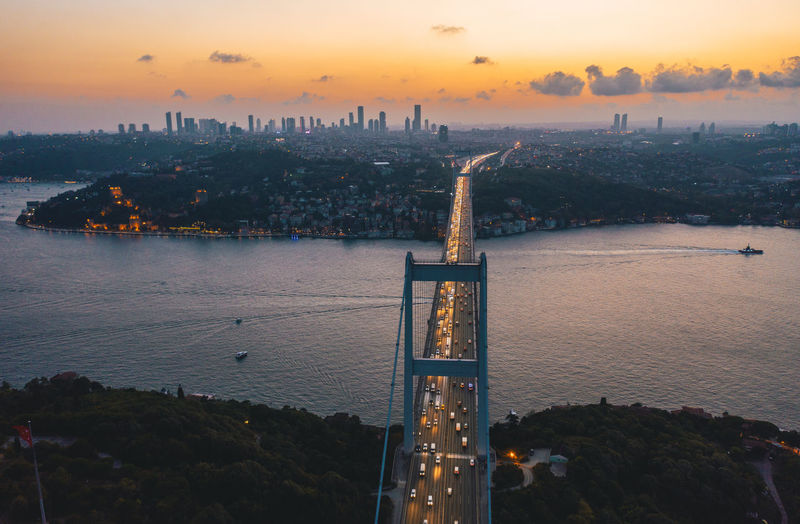 View of tower bridge at sunset