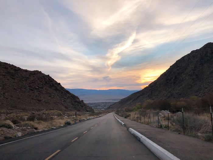 Desert drive Sunrise Road The Way Forward Transportation No People Mountain Sky California Dreamin Outdoors Cloud - Sky Landscape Nature Scenics