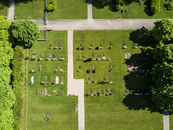 Aerial view of a cemetery