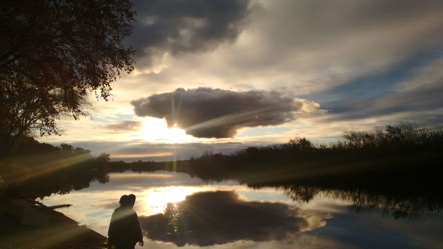Water Lake Sunset Reflection Cloud - Sky Non-urban Scene Tranquil Scene Tranquility Tree Lifestyles Sky