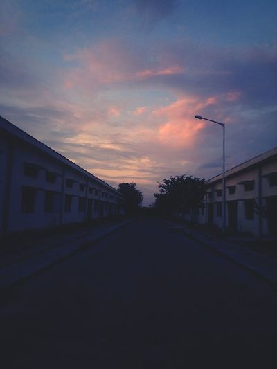 Building Exterior Architecture Sunset Sky Empty Road