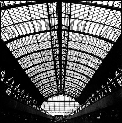 Low angle view of ceiling of railroad station
