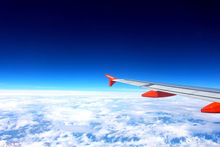 Blue Sky Transportation Airplane Flying No People Copy Space